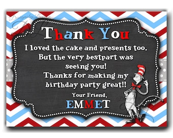 Dr Seuss Thank You Card, Dr. Seuss BIRTHDAY THANK YOU, Dr. Seuss inspired invites, Cat in the hat photo, 1st Birthday, Dr. Seuss