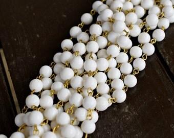 Vintage White Beaded Rosary Brass Chain, 5ft, 8mm