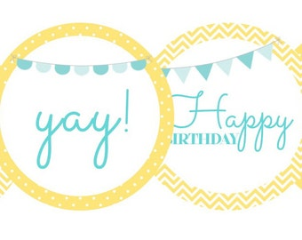 Happy Birthday First Birthday Yellow and Blue- one, happy birthday, yay!- INSTANT DOWNLOAD