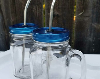 Mason jar mug with handle and straw, christmas blue mason jar lid, blue mason jar, christmas mason jar