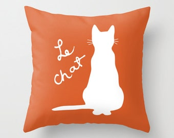Cat Pillow Cover - Pumpkin Orange and White Cat Throw Pillow - Cat Novelty Pillow - Cat Decor - Cat Decorative Pillow - Aldari Home