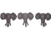 Elephant Decor Elephant Hook Set Of 3 Rustic Cast