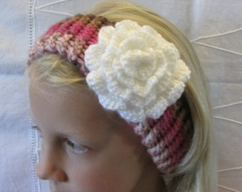 Knitted Ear Warmer - Girl's Knitted Head Band - Loom Knitted - Crocheted Flower - Pinks and Browns