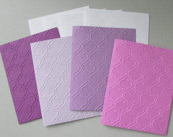Quatrefoil cards-set of 4-Embossed cards-Handmade,purple card sets,hostess/teacher gift,stationery,pretty cards,blank cards,homemade cards