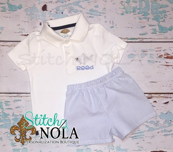 Shark Collarded Shirt & Blue Seersucker Shorts Set