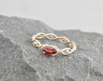 Gold ring with garnet, white gold ring, garnet gold ring, red stone ring