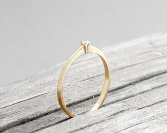 Engagement diamond solid gold soliter classic ring, promis diamond ring, engagement gold ring