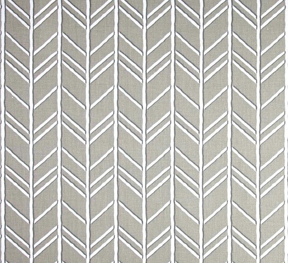 Taupe Grey Herringbone Fabric Designer Home Decor Fabric By The Yard Cotton Drapery Fabric