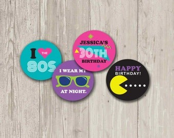 80's Party, Cupcake Toppers, Stickers, Party Circles | Printable