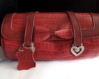 Red faux leather Brighton barrel purse handbag with silver hearts and red bow, vegan red handbag, red faux crocodile bag, ships from USA
