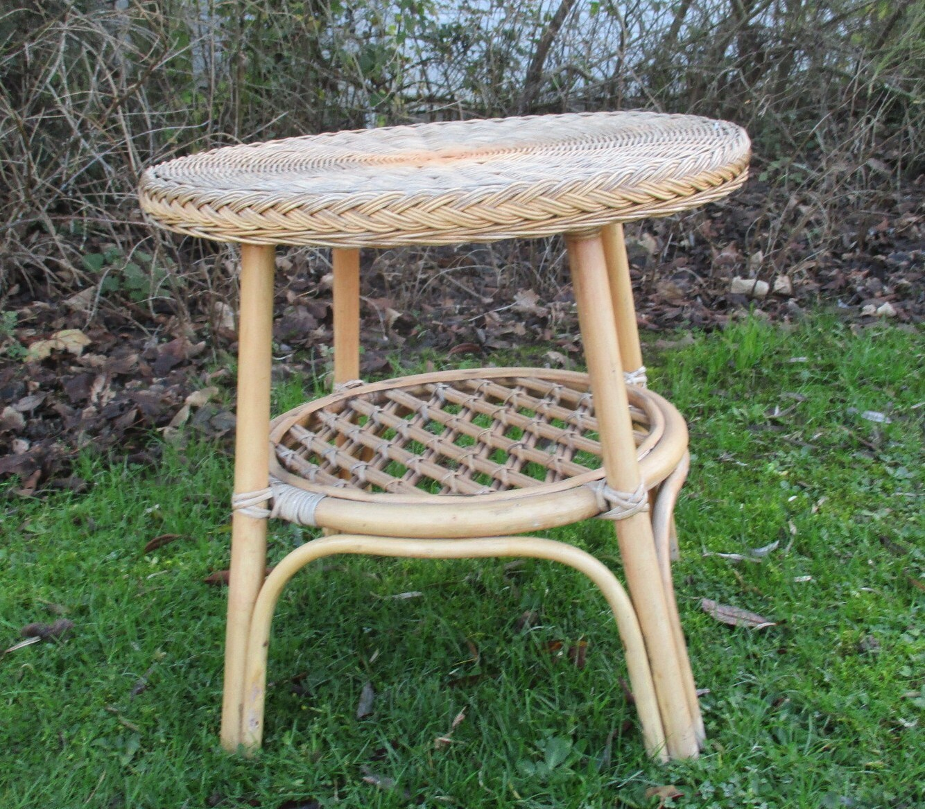 Vintage Wicker Round Coffee Side Table Plant Stand Mid Century