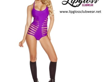 Strappy Clubwear Bodysuit - Purple