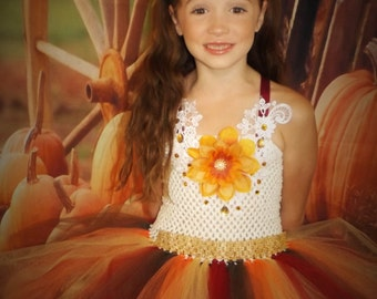 Thanksgiving tutu dress, harvest costume,Autumn tutu dress, sunflower dress, 0-10 years
