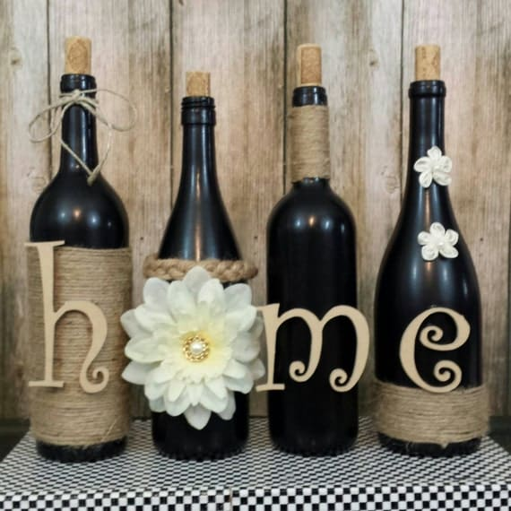 home decor ideas with glass bottles decorated wine bottles painted set of wine bottles 13248