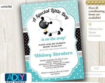 Turquoise,Black Little Lamb Baby Shower Invitation, Printable Sheep/Lamb Card, tiffany,turquoise, aqua blue INSTANT DOWNLOAD - oz94bTBB