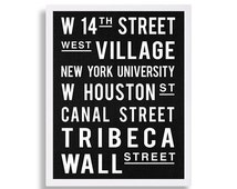 Vintage New York City Art Subway Stop Print Roll Sign Print West Village NYC Decor Tribeca Art Wall Street Print Canal Street Industrial Art