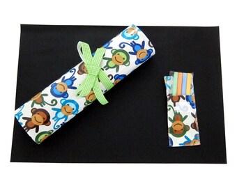 Kids Chalkmat Placemat / waterproof laminated cotton chalkboard Travel Toy Cheeky Monkey Print