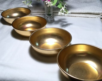 "Set of 4 Gold Anodized Aluminum Bowls marked ""Hawthorn""  retro 50's Modern"