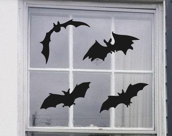 Bats 4 Set Vinyl Halloween Decals For Window or Door