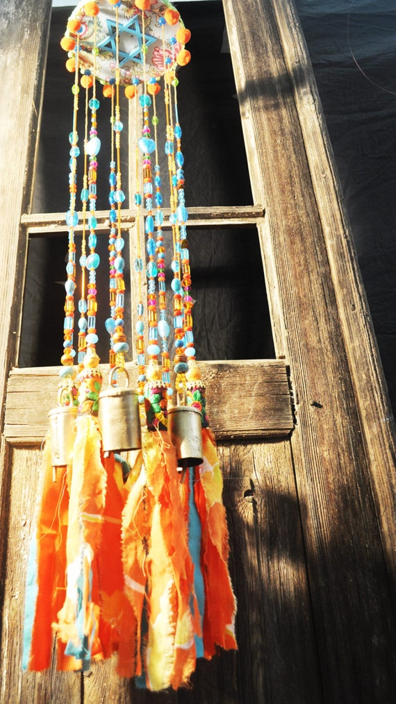 Wind chime-bohemian décor-bell wind chimes-indoor wind chimes-large ... -   Bohemian Wind Chime