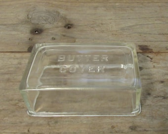 Butter Cover, Glass, Rectangular, Vintage, 1940's or 1950's