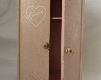 Doll Wardrobe Closet, for Vogue Ginny Doll, Wood, Pink, 1950's - 1960's