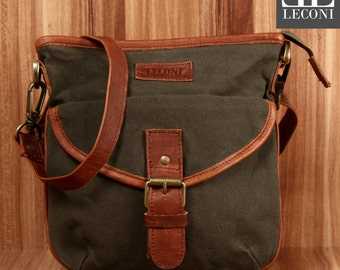 LECONI small shoulder bag shoulder bag lady bag of canvas leather green LE3048-C