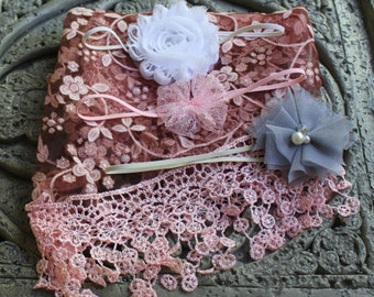 Vintage pink Newborn Baby no-Stretch Lace Wrap Photography Prop 3 headbands