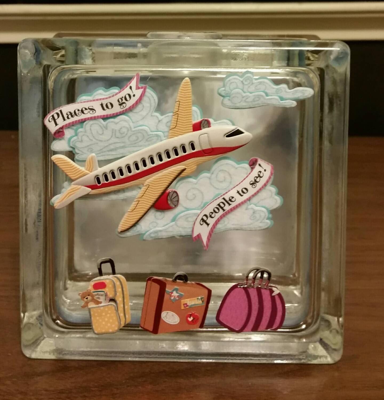 Vacation fund glass block piggy bank travel fund savings bank for Travel fund piggy bank