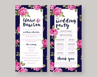 "Printable Wedding Program—""Claire"""