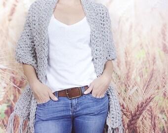 Grey Tweed Crocheted Fringe Stole Wrap Shawl for Women