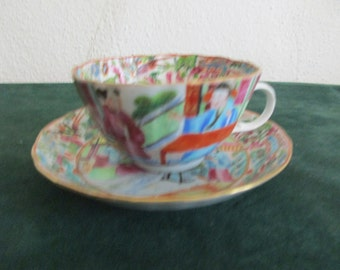 Antique Chinese Porcelain Rose Mandarin Cup and Saucer