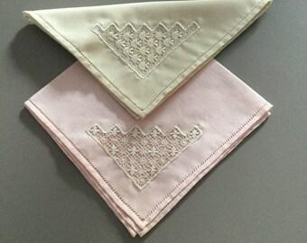 Two Vintage French ladies handkerchiefs .