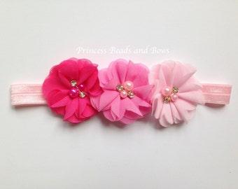 Triple Flower Shades of Pink Headband, Pink Shabby Chic Flower Headband,  Baby Headband, Girls Headband, Newborn Headband