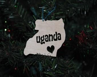 Uganda Wooden Christmas Tree Ornament