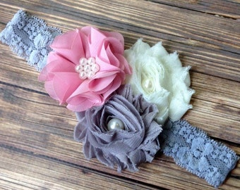 Light Mauve, Ivory and Gray Lace Headband, Newborn Headband, Baby Headband, Toddler Headband, Girls Headband, Photo Prop