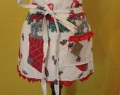Mid-century Christmas kitten vintage fabric hostess/holiday half apron