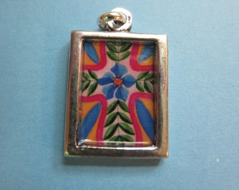 """Original art - """"Colorful Folk Art Cross"""" painting sealed under clear resin on a silver colored metal charm - 3/4"""" x 1"""" double sided pendant"""