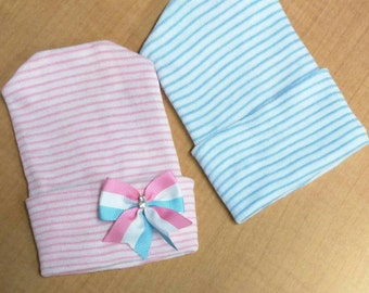 NEWBORN Hospital Hats. Twin Babies 1st Keepsakes! 2 Newborn Hospital Beanies. Newborn Baby Hats Newborn Beanies. For  Girl and Boy!.