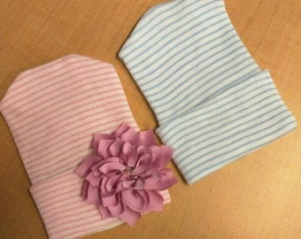 NEWBORN Hospital Hats. Twin Babies 1st Keepsakes! 2 Newborn Hospital Beanies. Newborn Baby Hats Newborn Beanies. For  Girl and Boy!