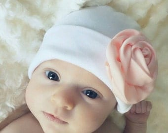 Baby Hat White Beanie w/ Choice of Satin Flower Color. Hospital Beanie. Simple and Sweet. Great Gift. Perfect Going Home Hat!