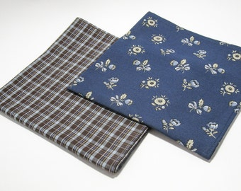 Brown Blue Plaid Mens Handkerchief. Pocket Square. Cotton Handkerchiefs. Eco-Friendly. Set of 2