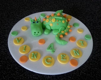 Edible handmade dragon birthday cake topper PERSONALISED