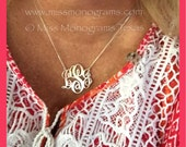 Stylish Sterling Silver Monogram Necklace Perfect Gift! XS-XXL Sizes!! Great Gift Idea!