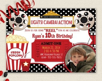 Movie Night Invitation, Movie Birthday Invitation, Movie Party Invitation, Photo Movie Invitation, Movie Night Party, Printable Invitation