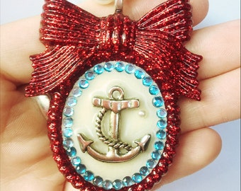 Pinup girl red glitter anchor bow necklace
