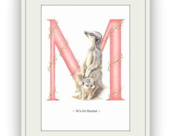 Meerkat Letter Art Print, Alphabet Art by Nicky Cooper, British Artist, UK Seller
