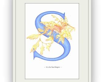 Sea Dragon Letter Art Print, Alphabet Art by Nicky Cooper, British Artist, UK Seller