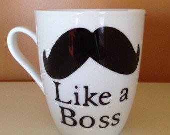 Like a Boss moustache coffee mug