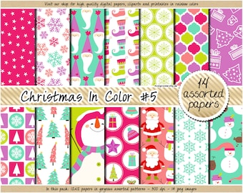 SALE christmas digital paper holiday digital paper snowman snowflake santa christmas tree present reindeer clipart in pink blue green purple